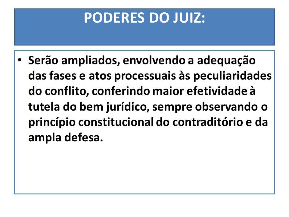 PODERES DO JUIZ: Serão ampliados, envolvendo a adequação das fases e atos processuais às peculiaridades do conflito, conferindo maior efetividade à tu