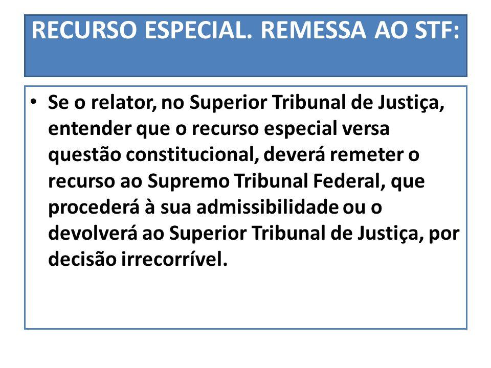 RECURSO ESPECIAL. REMESSA AO STF: Se o relator, no Superior Tribunal de Justiça, entender que o recurso especial versa questão constitucional, deverá