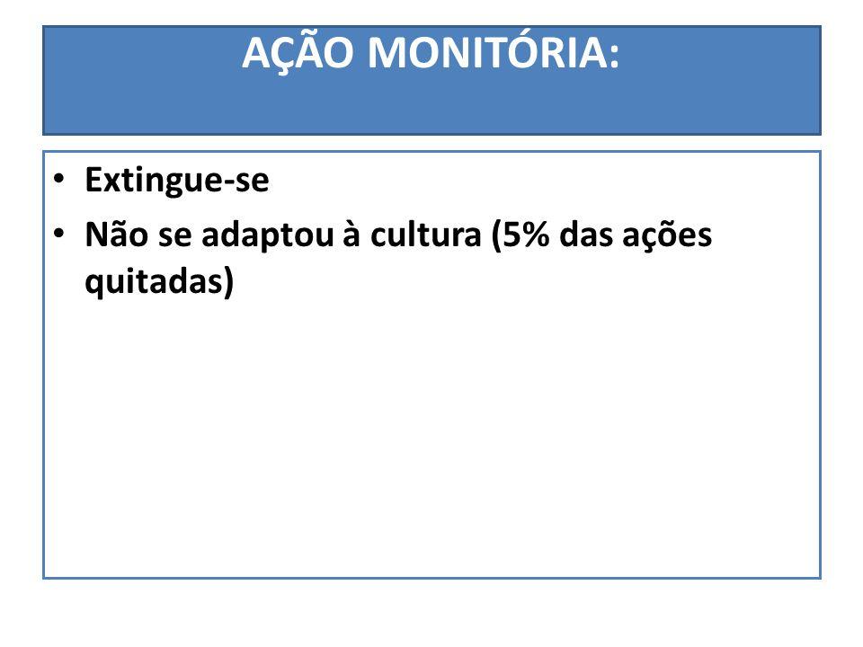 AÇÃO MONITÓRIA: Extingue-se Não se adaptou à cultura (5% das ações quitadas)