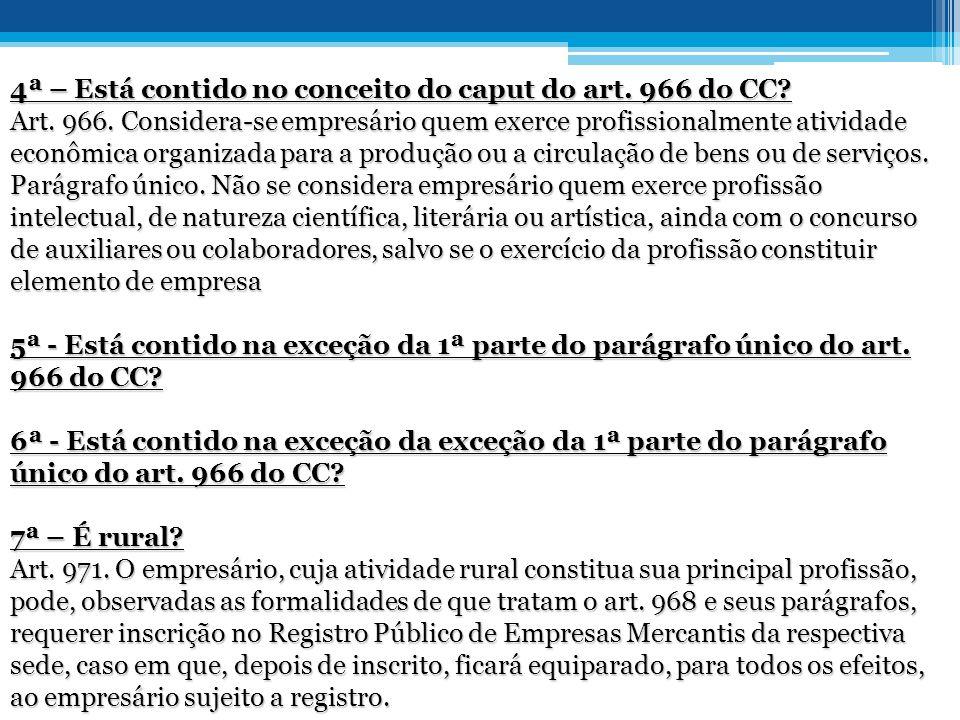 4ª – Está contido no conceito do caput do art.966 do CC.