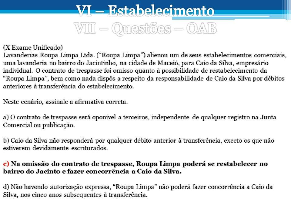 (X Exame Unificado) Lavanderias Roupa Limpa Ltda.