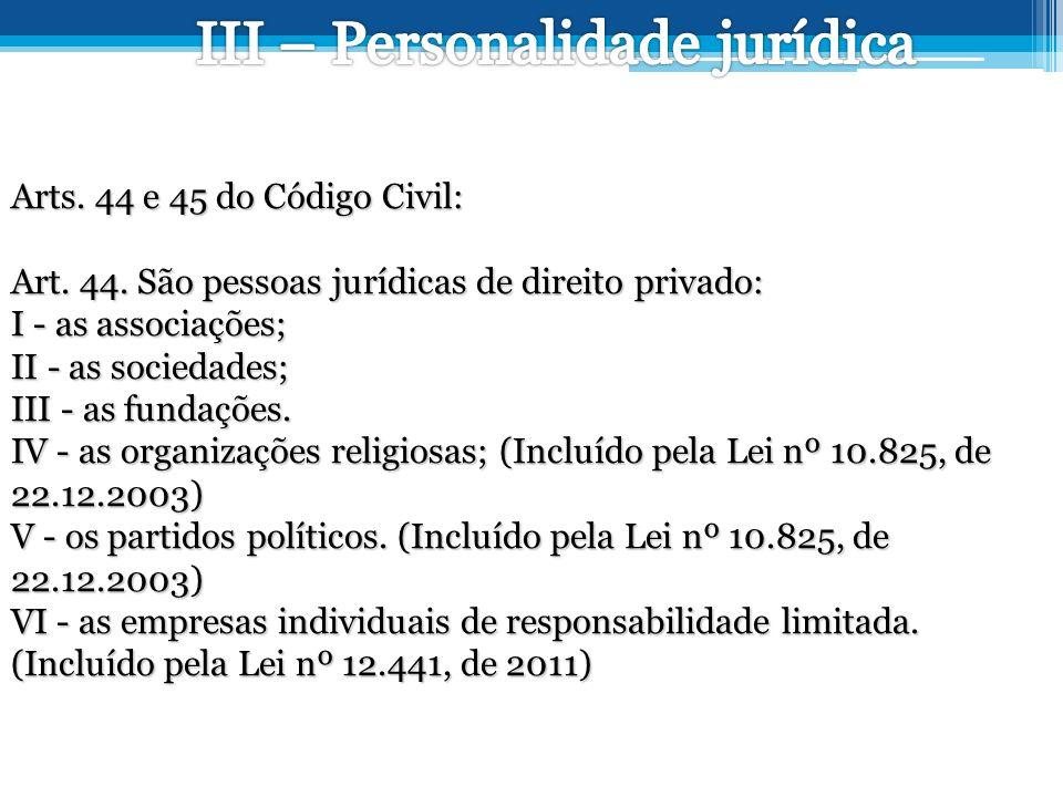 Arts.44 e 45 do Código Civil: Art. 44.