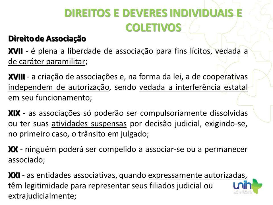 Direito de Associação XVII XVII - é plena a liberdade de associação para fins lícitos, vedada a de caráter paramilitar; XVIII XVIII - a criação de ass