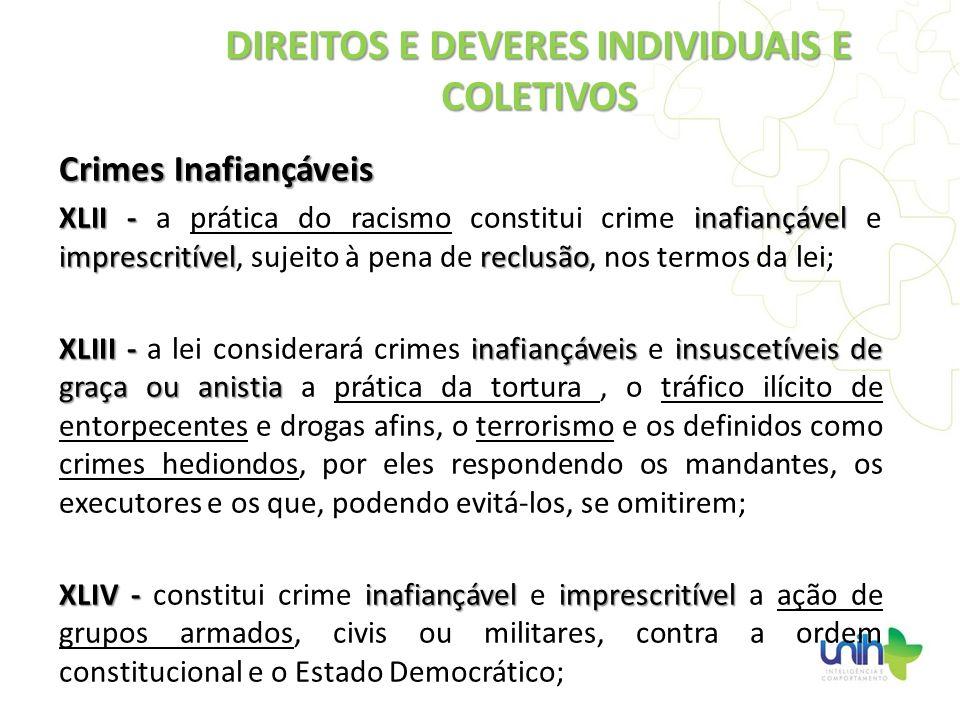 Crimes Inafiançáveis XLII - inafiançável imprescritívelreclusão XLII - a prática do racismo constitui crime inafiançável e imprescritível, sujeito à p