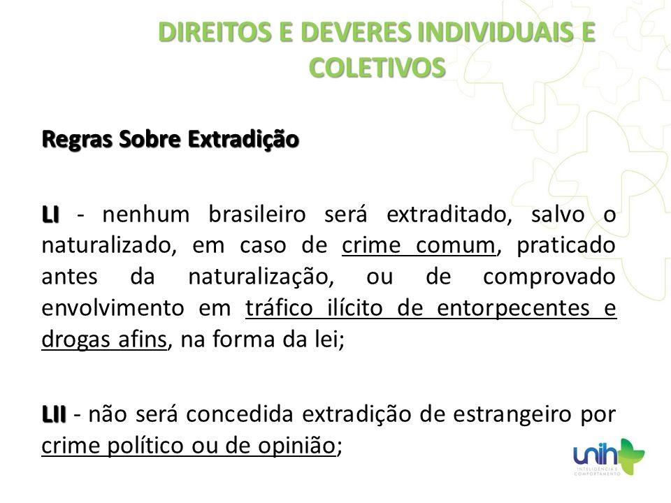 Regras Sobre Extradição LI LI - nenhum brasileiro será extraditado, salvo o naturalizado, em caso de crime comum, praticado antes da naturalização, ou