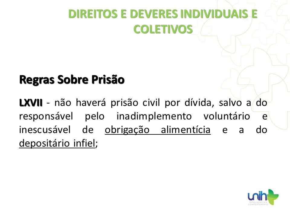 Regras Sobre Prisão LXVII LXVII - não haverá prisão civil por dívida, salvo a do responsável pelo inadimplemento voluntário e inescusável de obrigação
