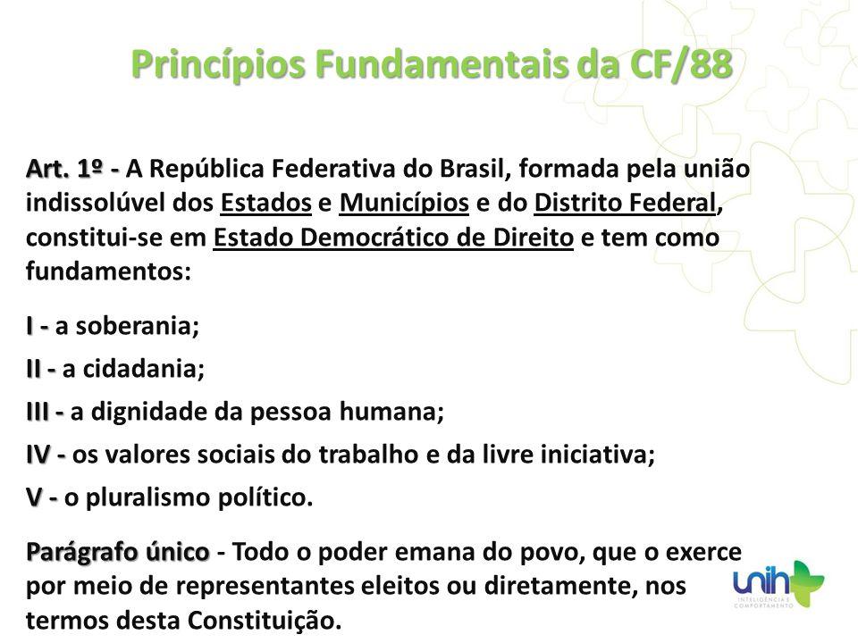 Art. 1º - Art. 1º - A República Federativa do Brasil, formada pela união indissolúvel dos Estados e Municípios e do Distrito Federal, constitui-se em