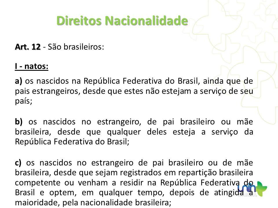 Art. 12 Art. 12 - São brasileiros: I - natos: a) os nascidos na República Federativa do Brasil, ainda que de pais estrangeiros, desde que estes não es