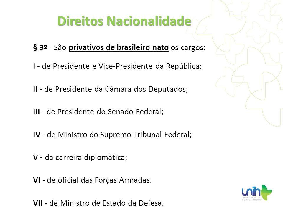 § 3º § 3º - São privativos de brasileiro nato os cargos: I - de Presidente e Vice-Presidente da República; II - de Presidente da Câmara dos Deputados;