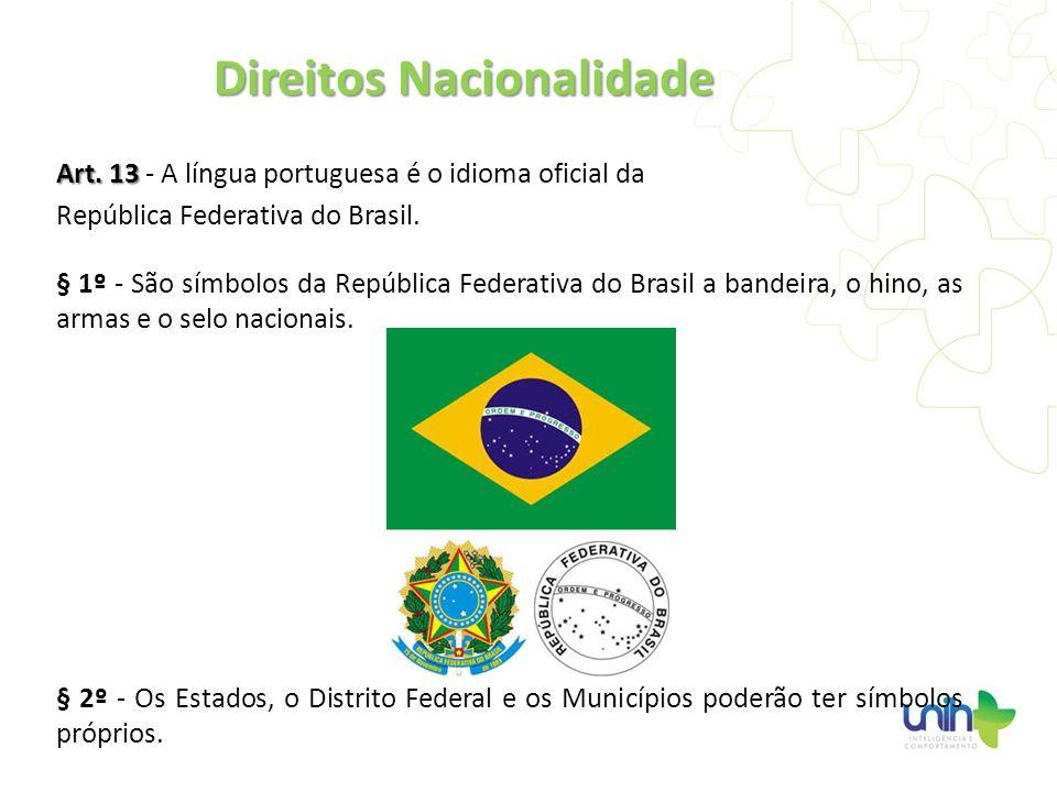 Art. 13 Art. 13 - A língua portuguesa é o idioma oficial da República Federativa do Brasil. § 1º - São símbolos da República Federativa do Brasil a ba