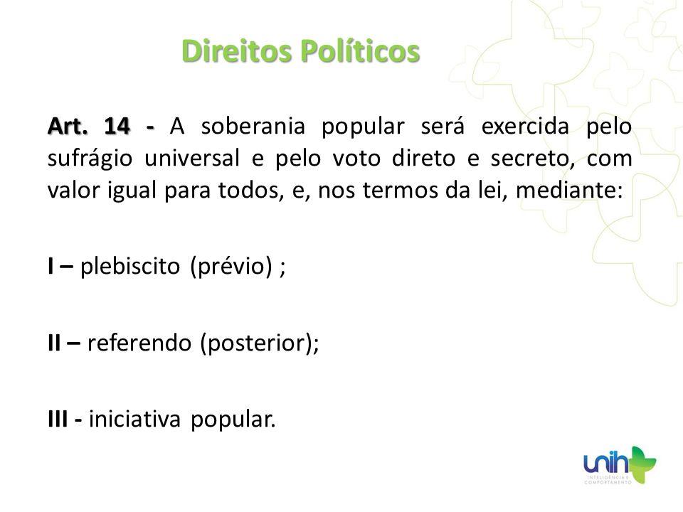 Art. 14 - Art. 14 - A soberania popular será exercida pelo sufrágio universal e pelo voto direto e secreto, com valor igual para todos, e, nos termos