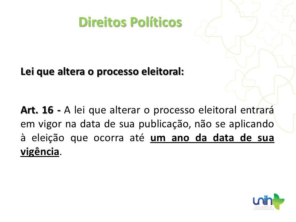 Lei que altera o processo eleitoral: Art. 16 - Art. 16 - A lei que alterar o processo eleitoral entrará em vigor na data de sua publicação, não se apl