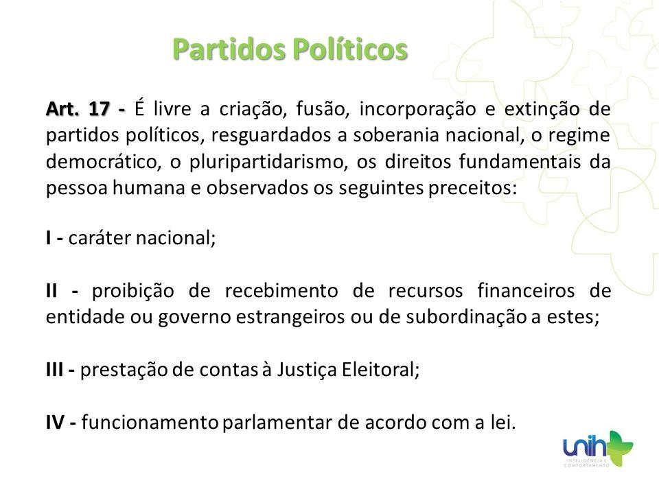 Art. 17 - Art. 17 - É livre a criação, fusão, incorporação e extinção de partidos políticos, resguardados a soberania nacional, o regime democrático,