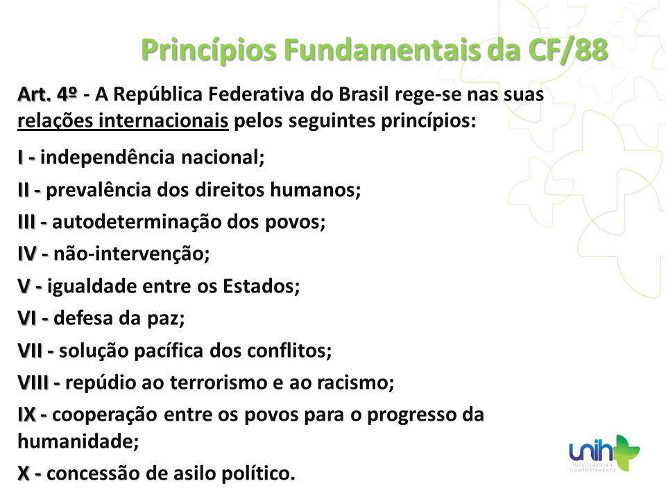 Art. 4º Art. 4º - A República Federativa do Brasil rege-se nas suas relações internacionais pelos seguintes princípios: I - I - independência nacional