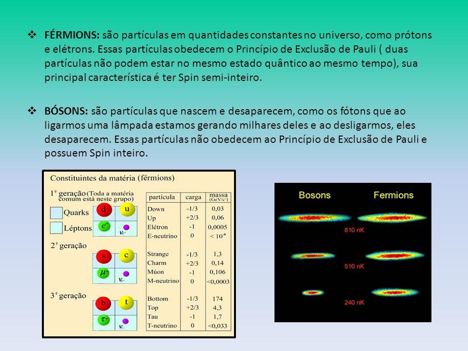 FÉRMIONS: são partículas em quantidades constantes no universo, como prótons e elétrons.