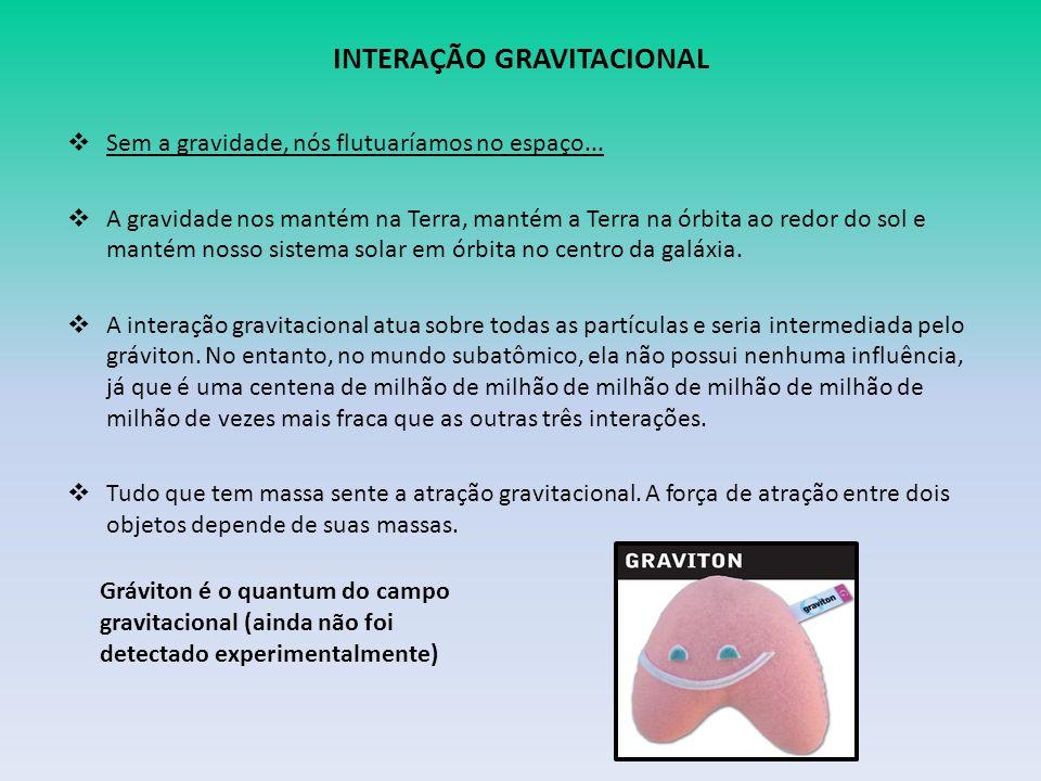 INTERAÇÃO GRAVITACIONAL Sem a gravidade, nós flutuaríamos no espaço...