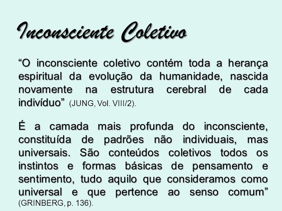 Inconsciente Coletivo O inconsciente coletivo contém toda a herança espiritual da evolução da humanidade, nascida novamente na estrutura cerebral de c