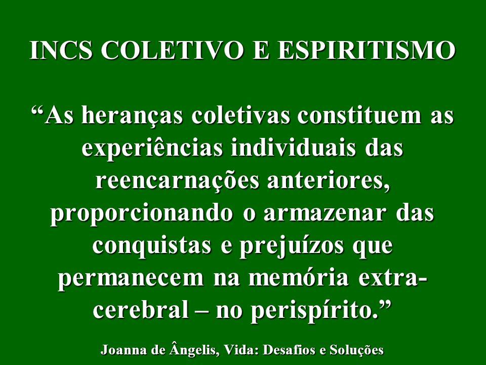 INCS COLETIVO E ESPIRITISMO As heranças coletivas constituem as experiências individuais das reencarnações anteriores, proporcionando o armazenar das