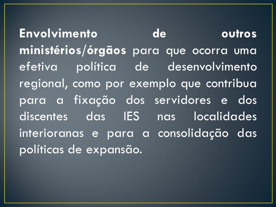 Envolvimento de outros ministérios/órgãos para que ocorra uma efetiva política de desenvolvimento regional, como por exemplo que contribua para a fixa
