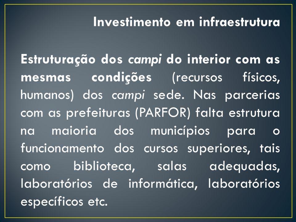 Investimento em infraestrutura Estruturação dos campi do interior com as mesmas condições (recursos físicos, humanos) dos campi sede. Nas parcerias co