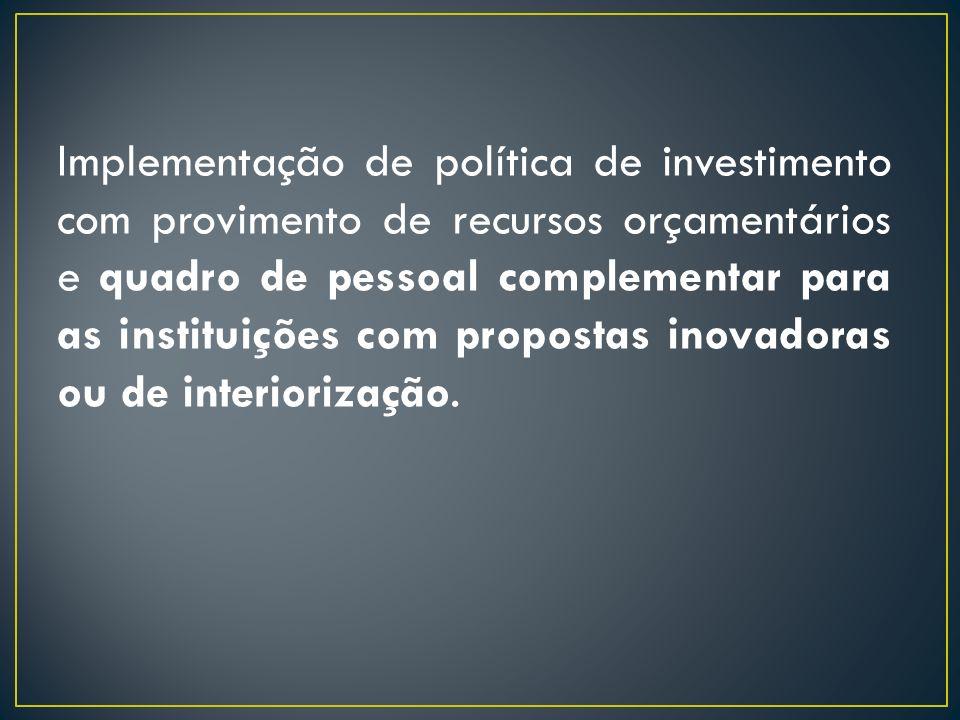 Implementação de política de investimento com provimento de recursos orçamentários e quadro de pessoal complementar para as instituições com propostas