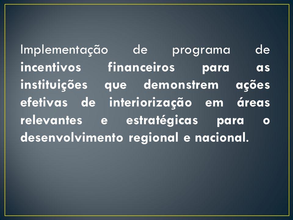 Implementação de programa de incentivos financeiros para as instituições que demonstrem ações efetivas de interiorização em áreas relevantes e estraté