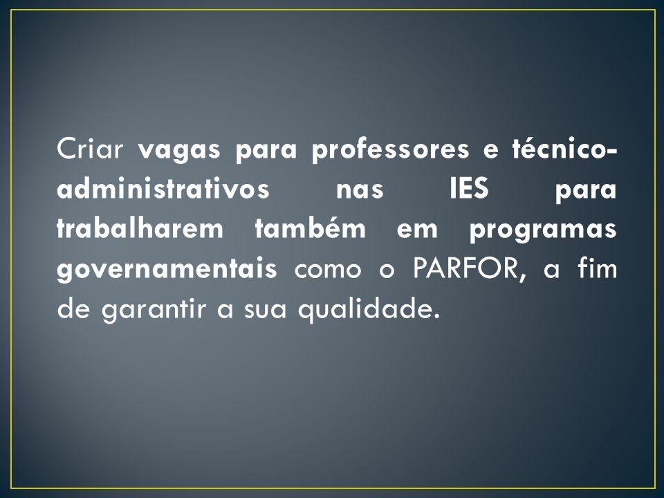 Criar vagas para professores e técnico- administrativos nas IES para trabalharem também em programas governamentais como o PARFOR, a fim de garantir a sua qualidade.