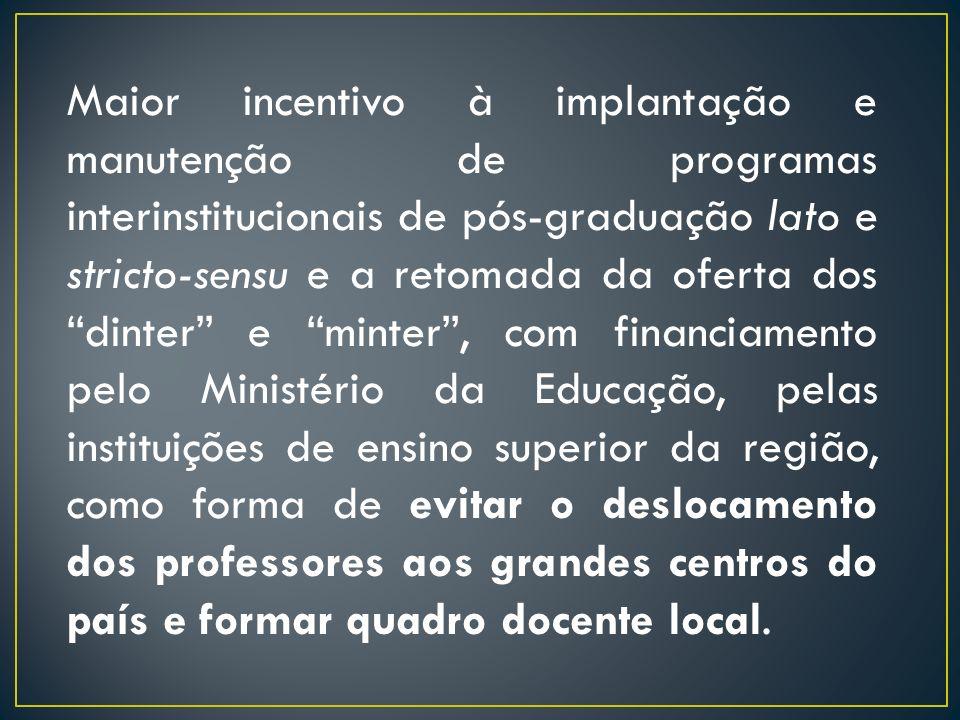Maior incentivo à implantação e manutenção de programas interinstitucionais de pós-graduação lato e stricto-sensu e a retomada da oferta dos dinter e