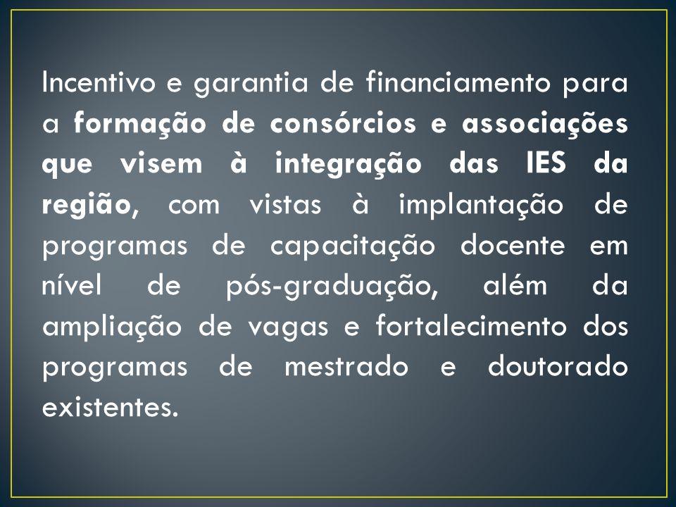 Incentivo e garantia de financiamento para a formação de consórcios e associações que visem à integração das IES da região, com vistas à implantação d