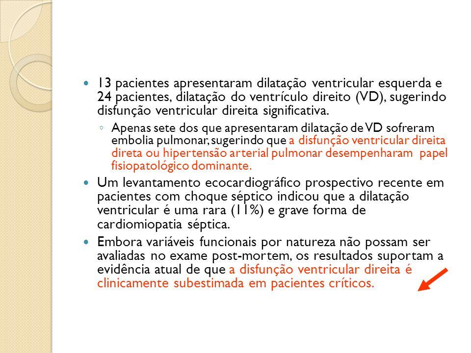 13 pacientes apresentaram dilatação ventricular esquerda e 24 pacientes, dilatação do ventrículo direito (VD), sugerindo disfunção ventricular direita