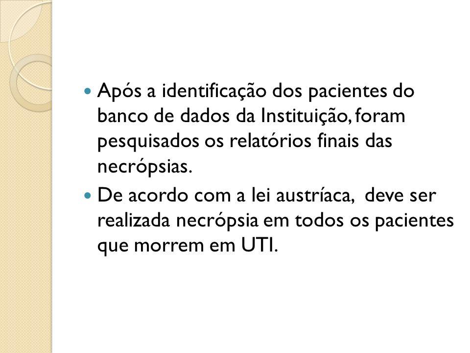 Após a identificação dos pacientes do banco de dados da Instituição, foram pesquisados os relatórios finais das necrópsias. De acordo com a lei austrí