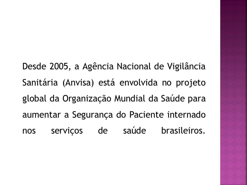 Desde 2005, a Agência Nacional de Vigilância Sanitária (Anvisa) está envolvida no projeto global da Organização Mundial da Saúde para aumentar a Segurança do Paciente internado nos serviços de saúde brasileiros.