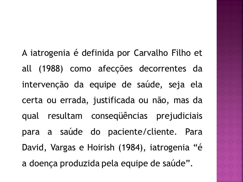 A iatrogenia é definida por Carvalho Filho et all (1988) como afecções decorrentes da intervenção da equipe de saúde, seja ela certa ou errada, justificada ou não, mas da qual resultam conseqüências prejudiciais para a saúde do paciente/cliente.