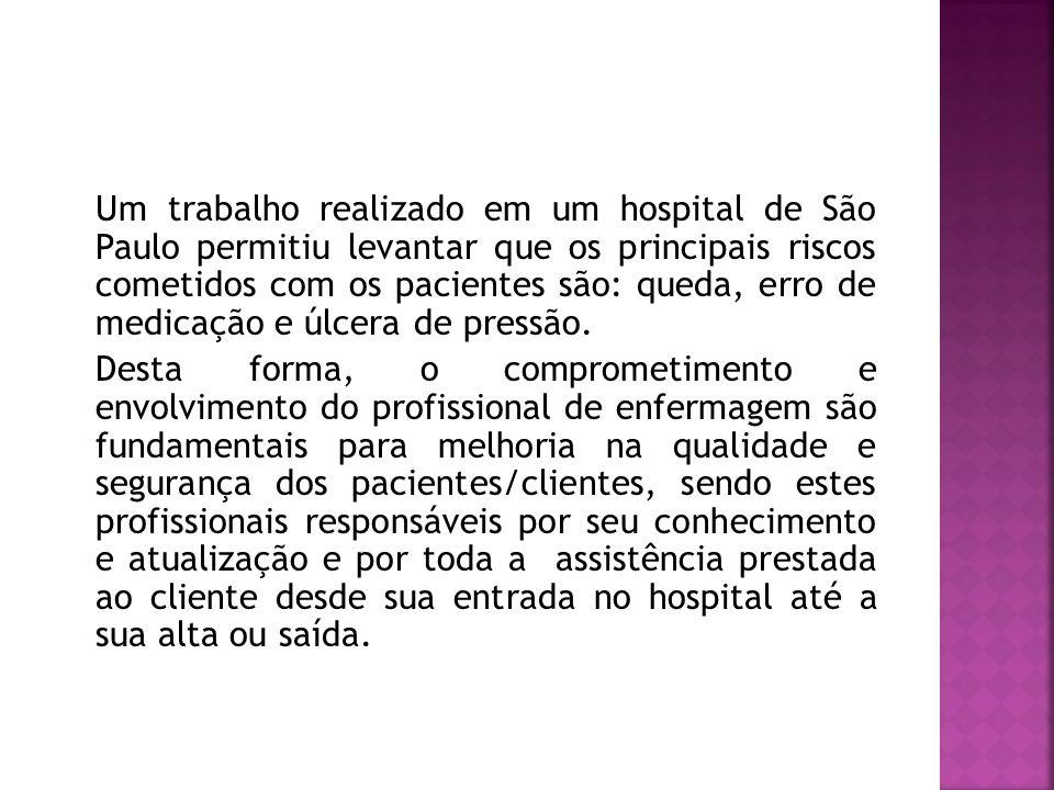 Um trabalho realizado em um hospital de São Paulo permitiu levantar que os principais riscos cometidos com os pacientes são: queda, erro de medicação