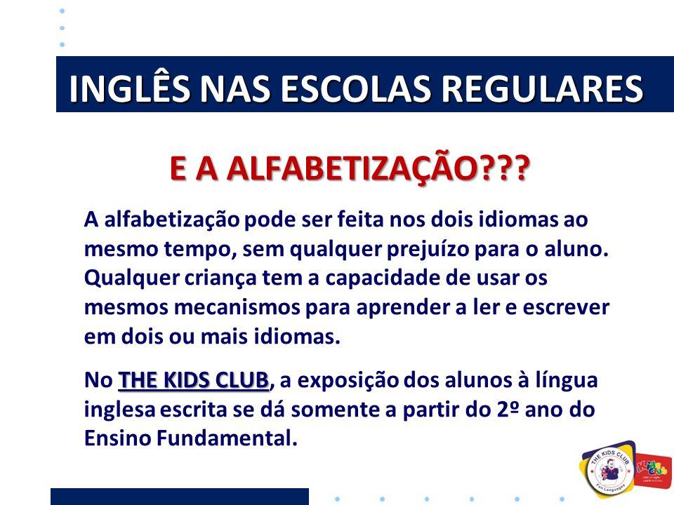 INGLÊS NAS ESCOLAS REGULARES E A ALFABETIZAÇÃO??? A alfabetização pode ser feita nos dois idiomas ao mesmo tempo, sem qualquer prejuízo para o aluno.