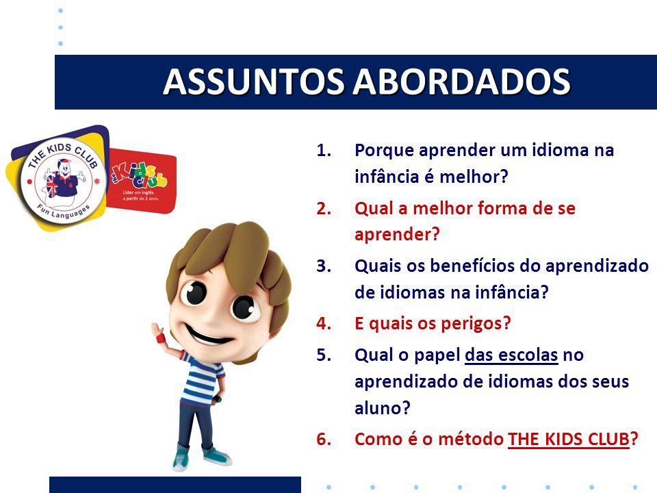 ASSUNTOS ABORDADOS 1.Porque aprender um idioma na infância é melhor? 2.Qual a melhor forma de se aprender? 3.Quais os benefícios do aprendizado de idi