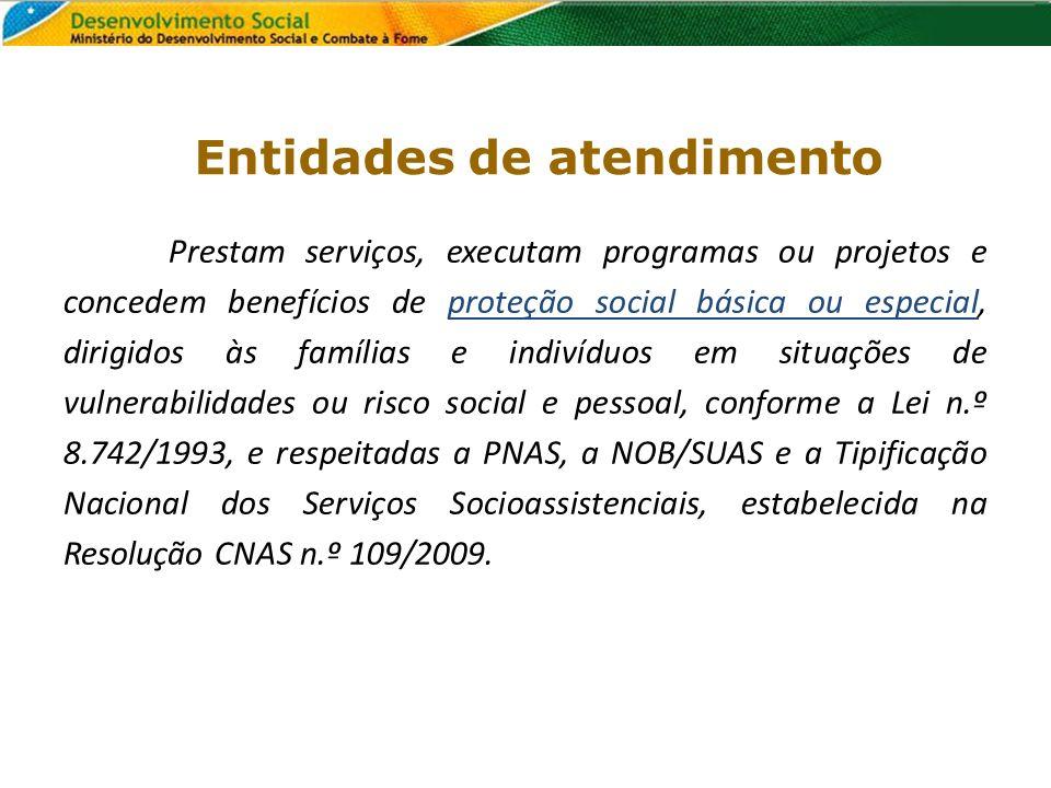 Entidades de atendimento Prestam serviços, executam programas ou projetos e concedem benefícios de proteção social básica ou especial, dirigidos às fa