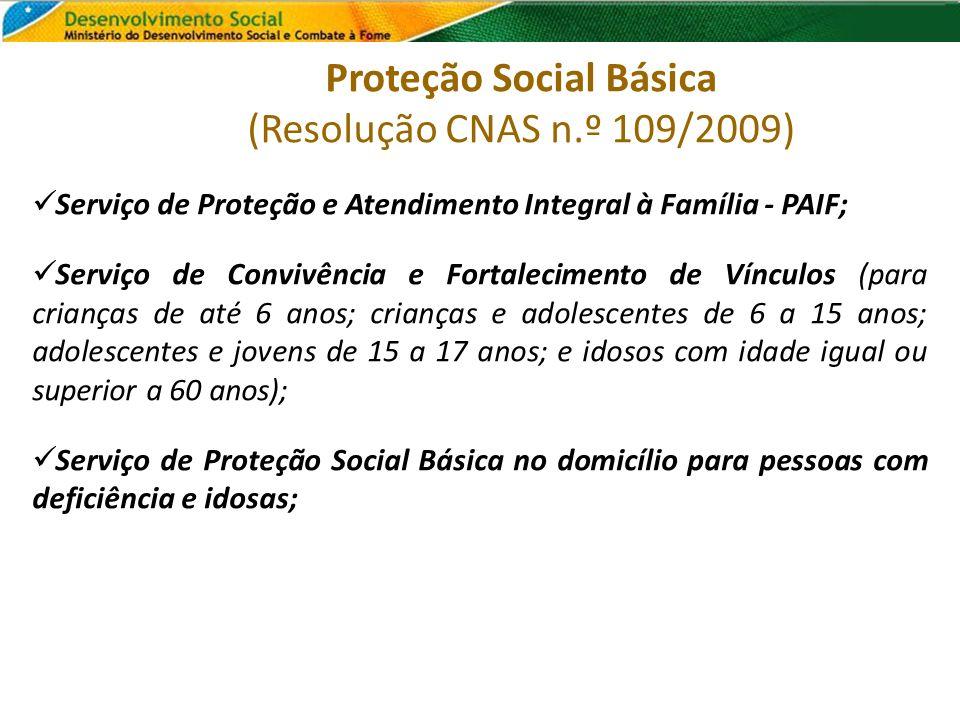 Proteção Social Básica (Resolução CNAS n.º 109/2009) Serviço de Proteção e Atendimento Integral à Família - PAIF; Serviço de Convivência e Fortalecime