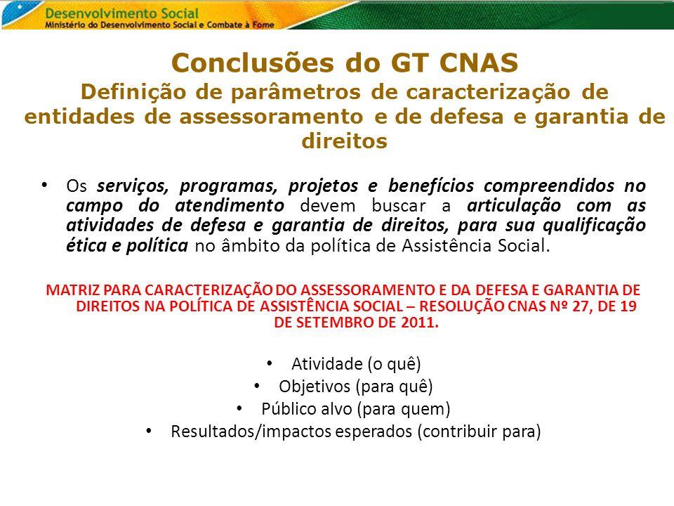 Conclusões do GT CNAS Definição de parâmetros de caracterização de entidades de assessoramento e de defesa e garantia de direitos Os serviços, program