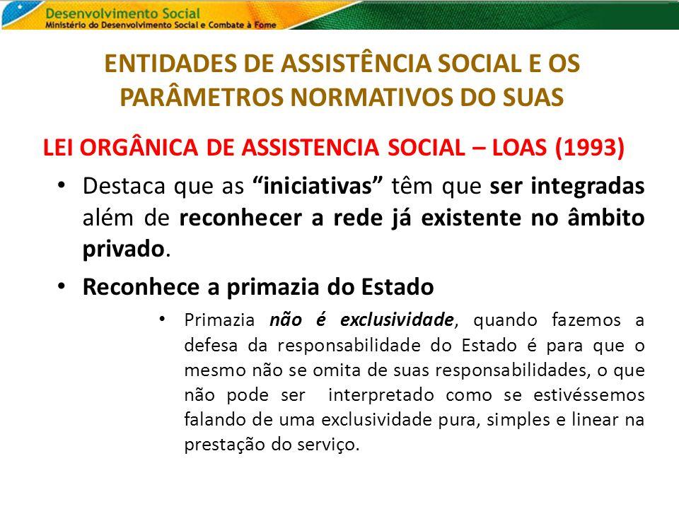LEI ORGÂNICA DE ASSISTENCIA SOCIAL – LOAS (1993) Destaca que as iniciativas têm que ser integradas além de reconhecer a rede já existente no âmbito pr
