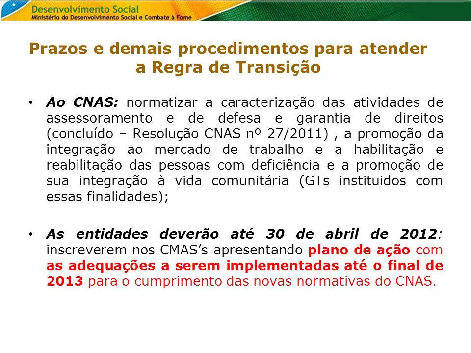 Prazos e demais procedimentos para atender a Regra de Transição Ao CNAS: normatizar a caracterização das atividades de assessoramento e de defesa e ga