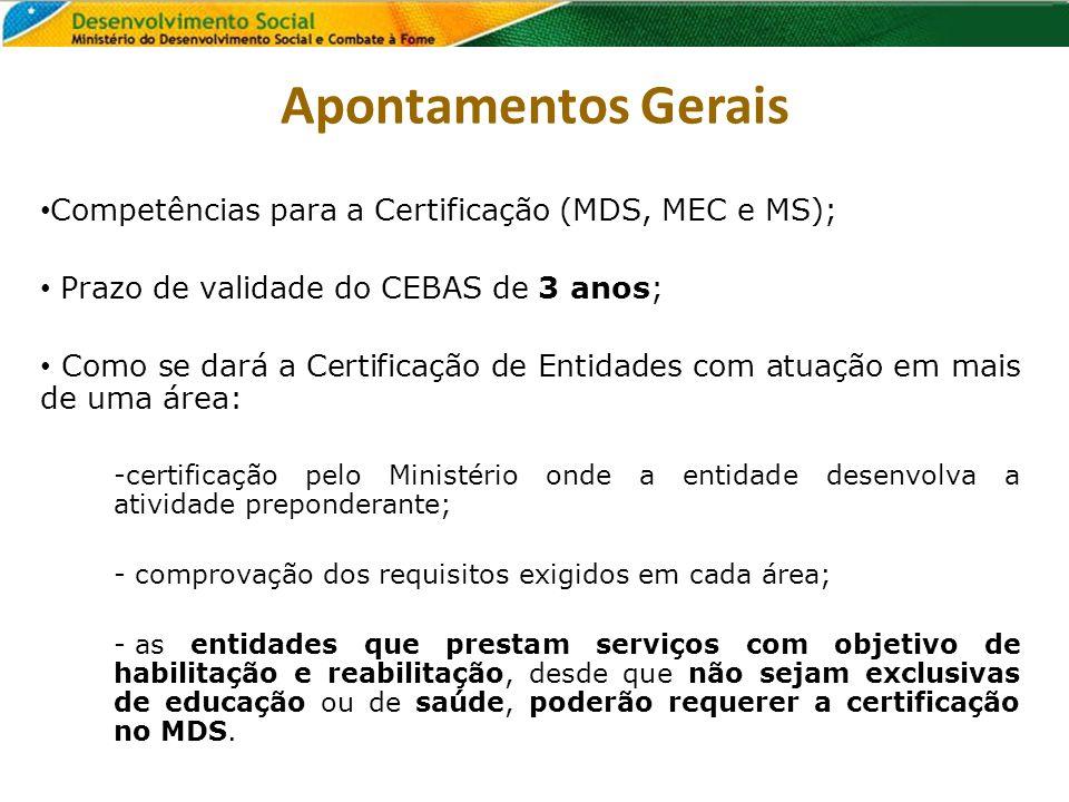 Competências para a Certificação (MDS, MEC e MS); Prazo de validade do CEBAS de 3 anos; Como se dará a Certificação de Entidades com atuação em mais d