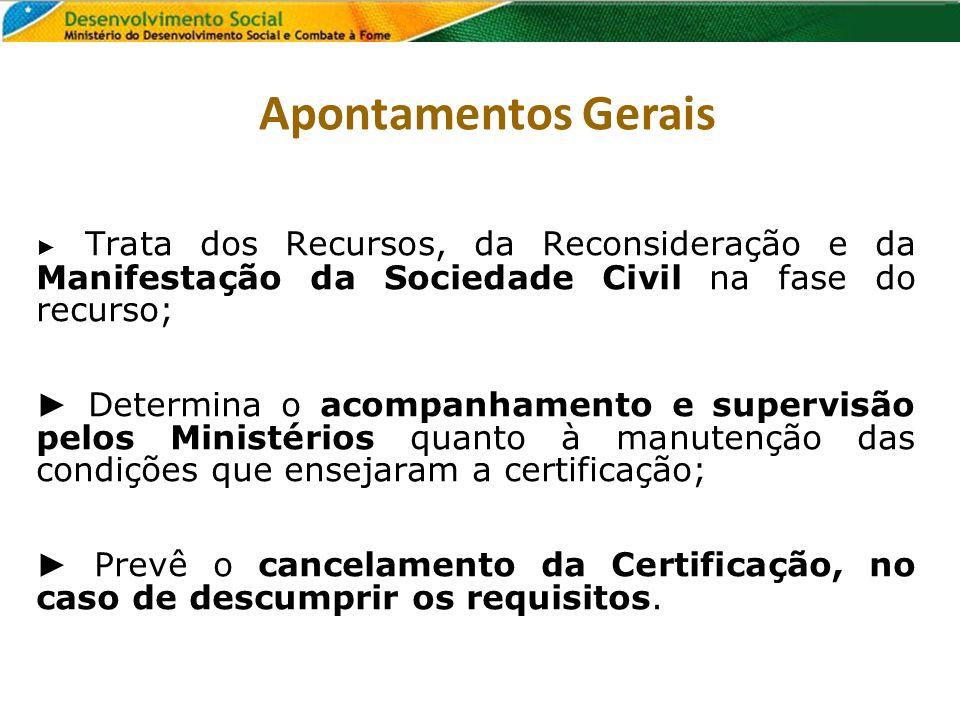 Trata dos Recursos, da Reconsideração e da Manifestação da Sociedade Civil na fase do recurso; Determina o acompanhamento e supervisão pelos Ministéri