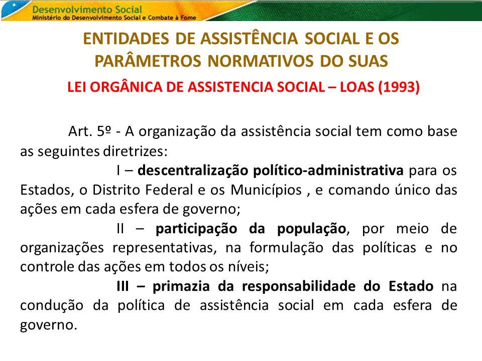 LEI ORGÂNICA DE ASSISTENCIA SOCIAL – LOAS (1993) Art. 5º - A organização da assistência social tem como base as seguintes diretrizes: I – descentraliz