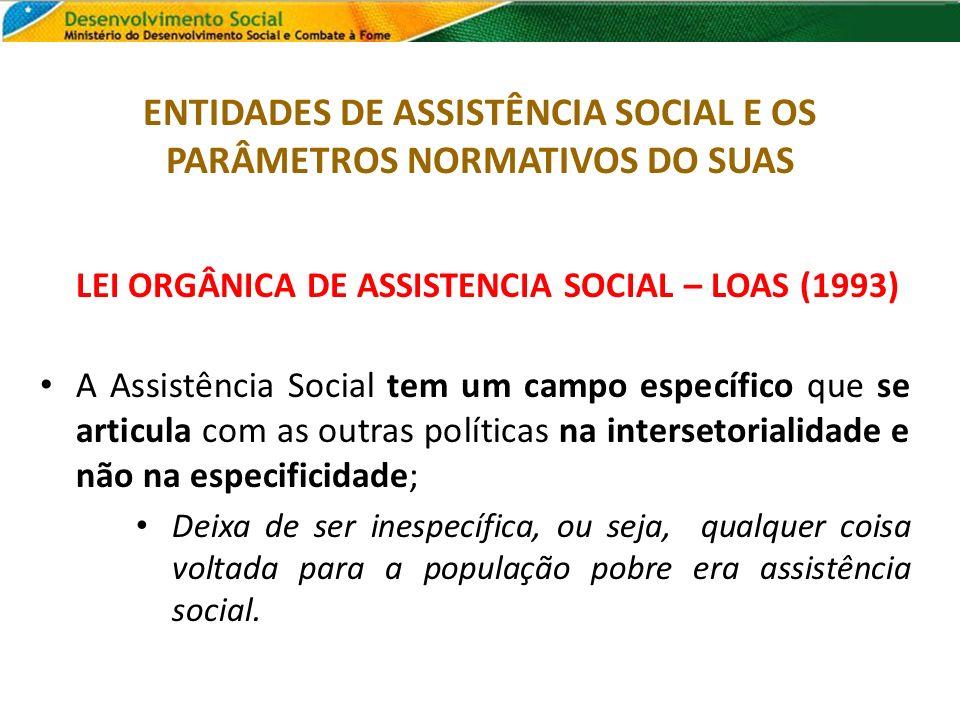 LEI ORGÂNICA DE ASSISTENCIA SOCIAL – LOAS (1993) A Assistência Social tem um campo específico que se articula com as outras políticas na intersetorial