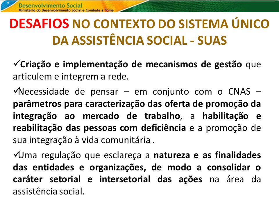 DESAFIOS NO CONTEXTO DO SISTEMA ÚNICO DA ASSISTÊNCIA SOCIAL - SUAS Criação e implementação de mecanismos de gestão que articulem e integrem a rede. Ne