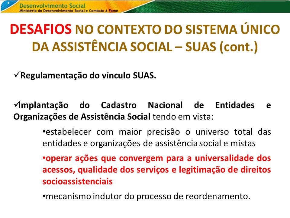 DESAFIOS NO CONTEXTO DO SISTEMA ÚNICO DA ASSISTÊNCIA SOCIAL – SUAS (cont.) Regulamentação do vínculo SUAS. Implantação do Cadastro Nacional de Entidad