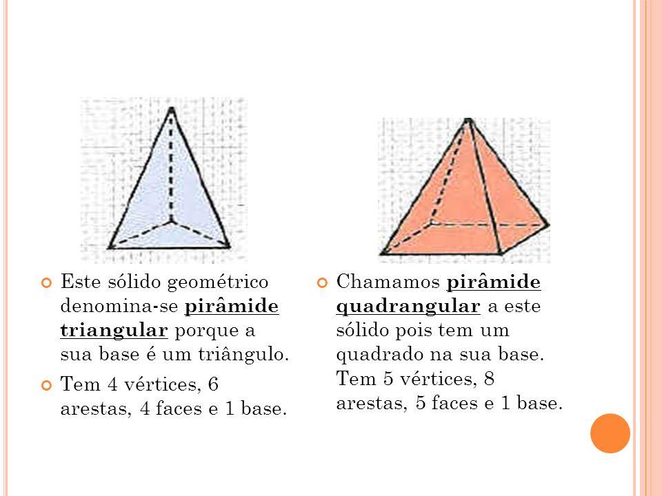 A base da pirâmide pentagonal é um pentágono.Tem 6 vértices, 10 arestas, 6 faces e 1 base.