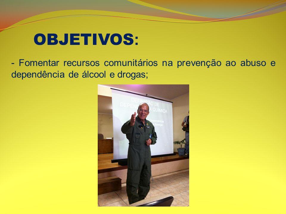 - Fomentar recursos comunitários na prevenção ao abuso e dependência de álcool e drogas; OBJETIVOS :