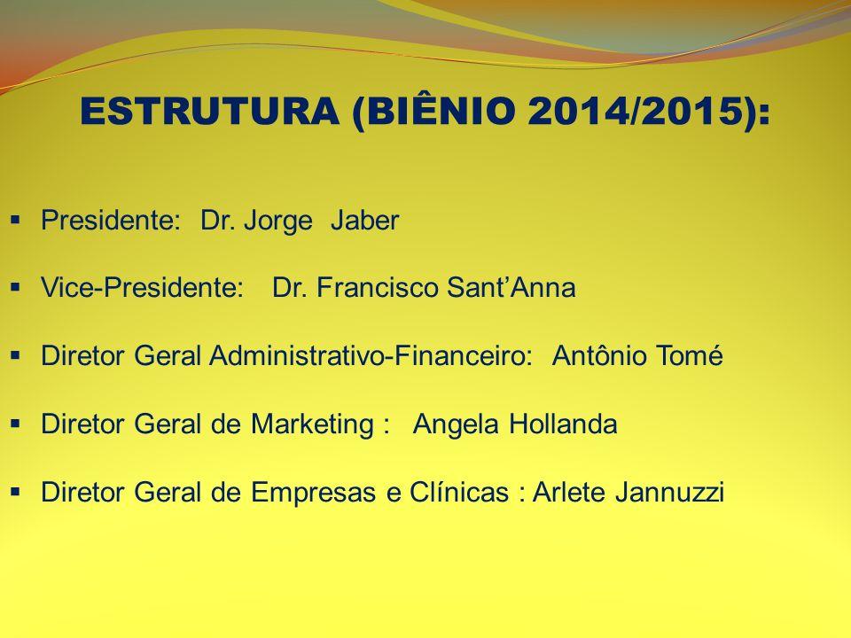 ESTRUTURA (BIÊNIO 2014/2015): Presidente: Dr. Jorge Jaber Vice-Presidente: Dr. Francisco SantAnna Diretor Geral Administrativo-Financeiro: Antônio Tom